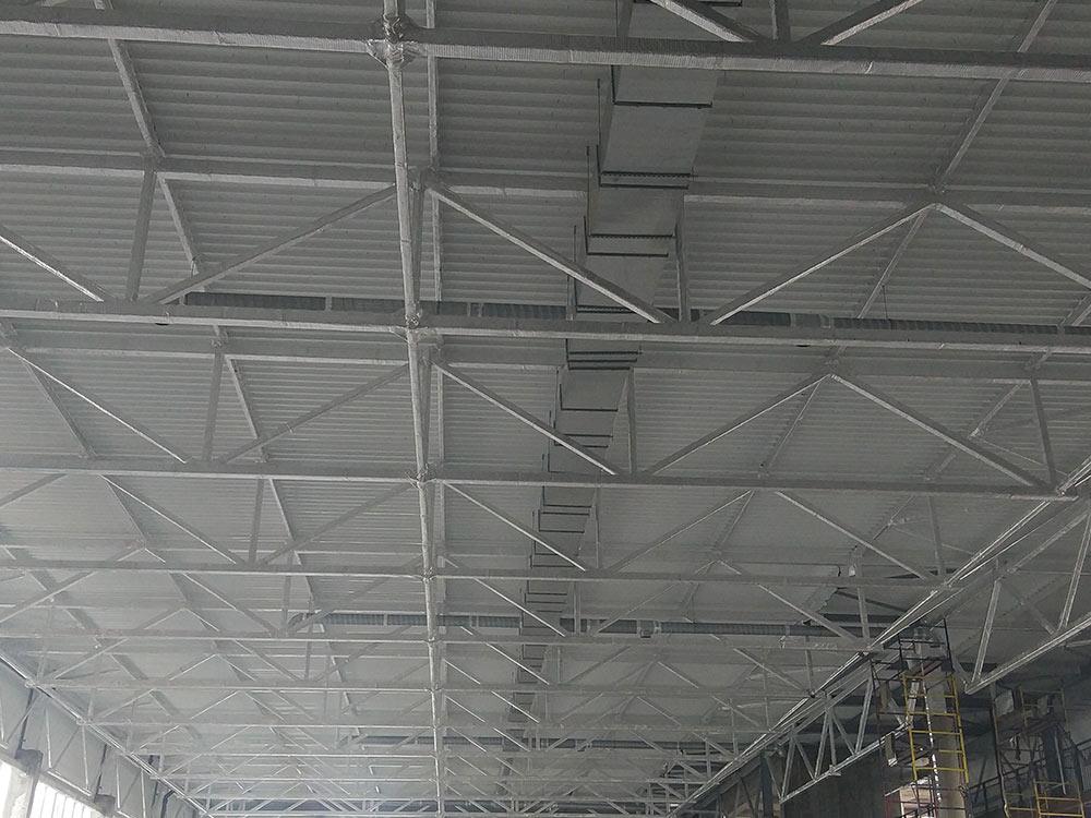 Огнезащитная металлоконструкций торгового центра г. Новосибирск, ул. Фабричная.