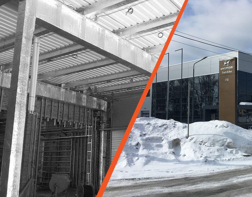 Станция технического обслуживания автомобилей с магазином и складом ООО «СИБАВТОСЕРВИС» в г. Новосибирск . Огнезащита несущих металлоконструкций