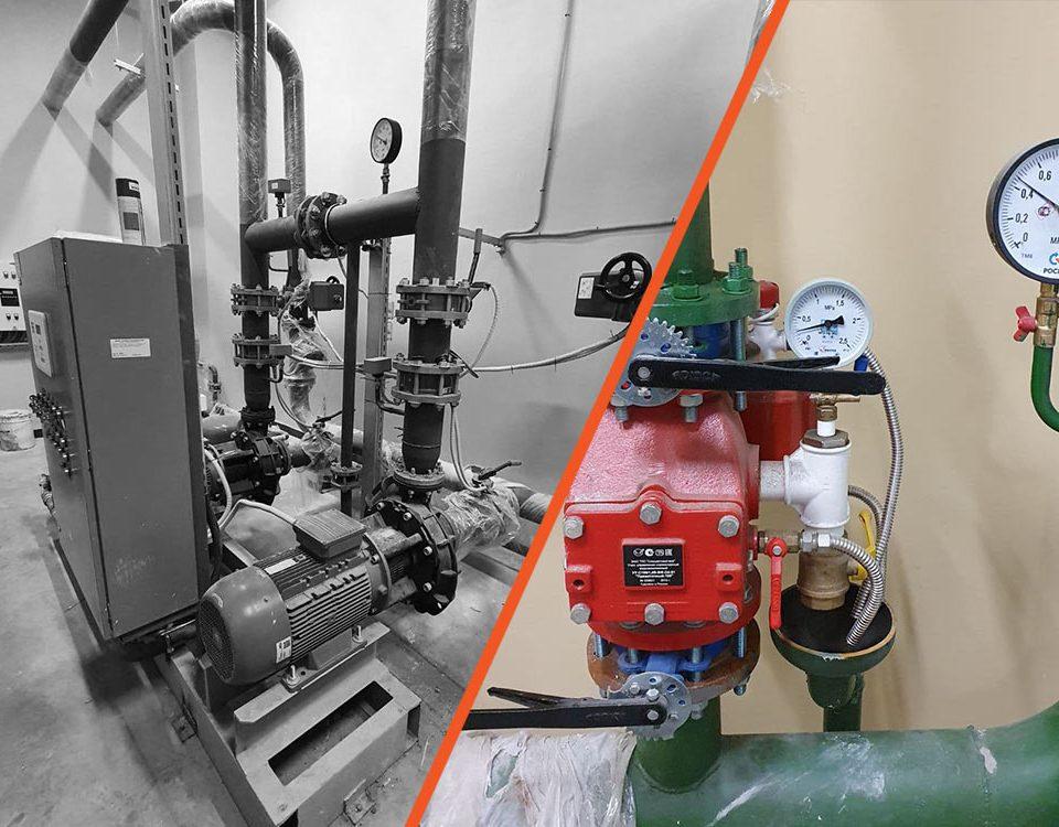 Монтажа насосной станции системы автоматического водяного пожаротушения